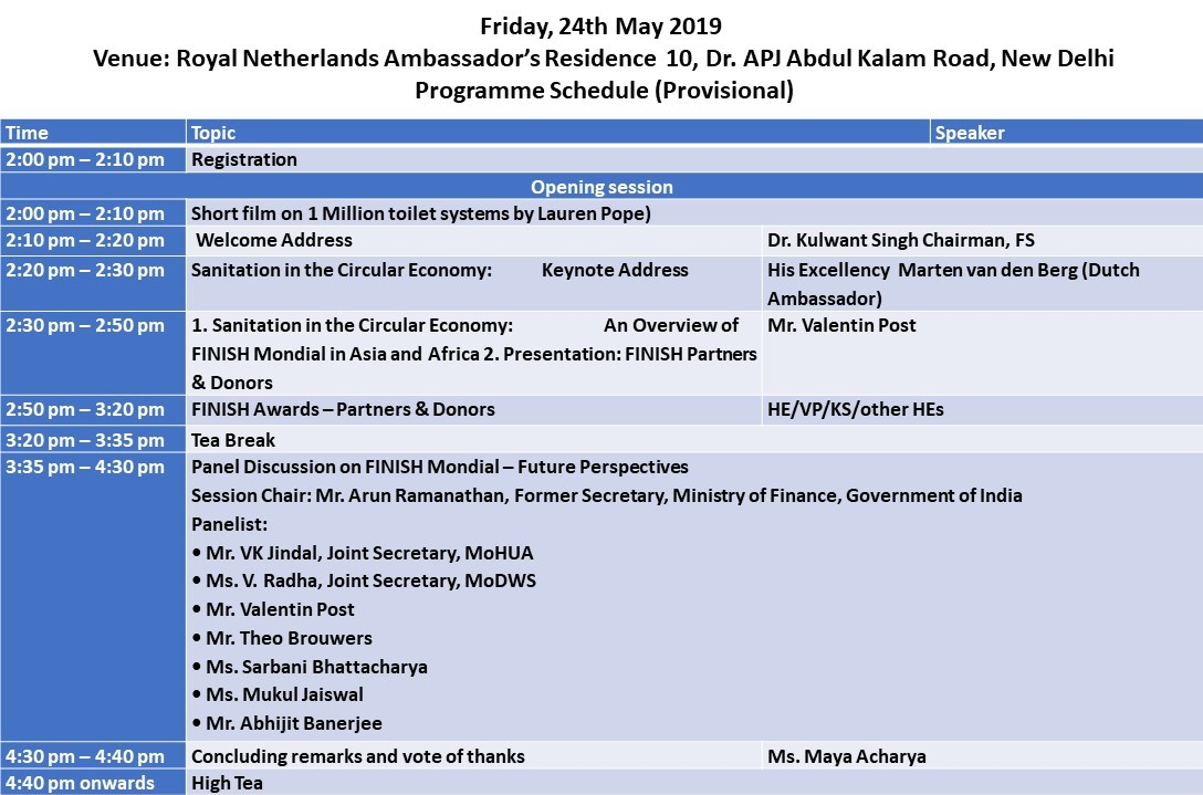 Sanitation in the Circular Economy - A round table discussion on 24 May 2019 at Royal Netherlands Ambassador's Residence,  10, Dr. APJ Abdul Kalam Road, New Delhi.